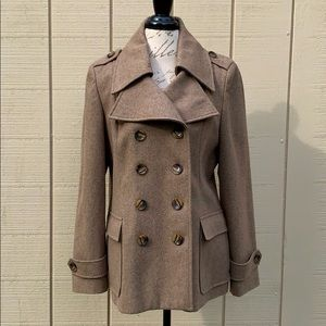 New York & Company Wool Blend Taupe Pea Coat